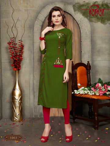 Green Color 14kg Heavy Rayon Stitched Kurti - VT392