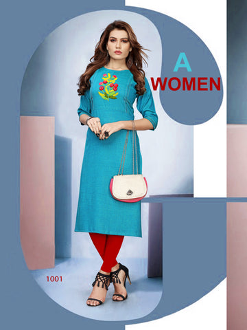 SkyBlue Color heavy Namo Slub Rayon Stitched Kurti - VT393