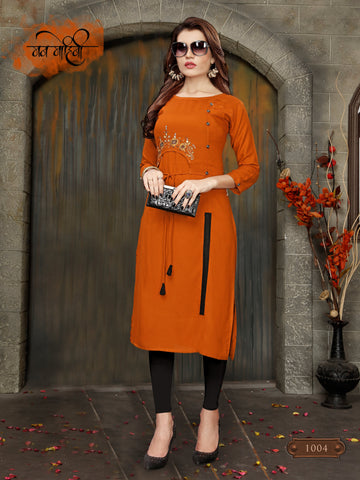 Orange Color 14kg Heavy Rayon Stitched Kurti - VT395