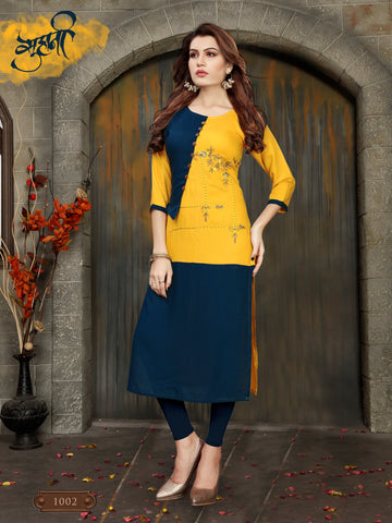 Yellow Color 14kg Heavy Rayon Stitched Kurti - VT396