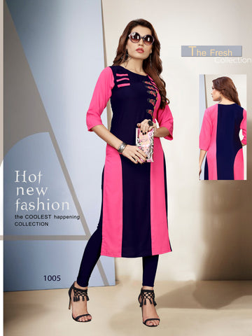 Pink and Navy Color 14kg Heavy Rayon Stitched Kurti - VT397