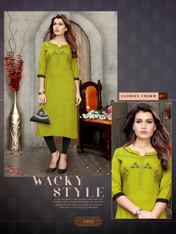 Parrot Green Color 14kg Heavy Rayon Stitched Kurti - VT398