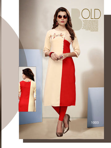 Cream and Red Color 14kg Heavy Rayon Stitched Kurti - VT399