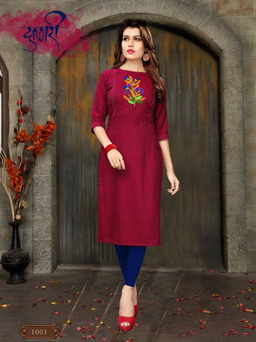 Red Color Heay Namo Slub Rayon Stitched Kurti - VT400