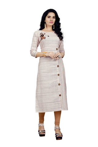 Multi Color Wooden Ice Cotton Stitched kurti - VT415A