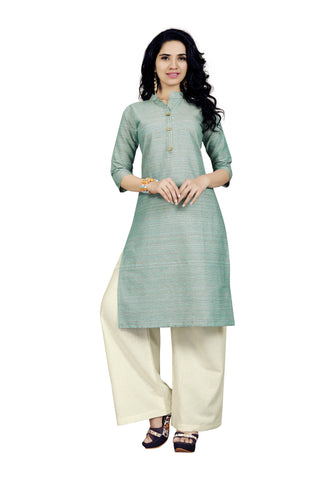 Light GreenColor Handloom Cotton Stitched kurti With Palazzo - VT423A