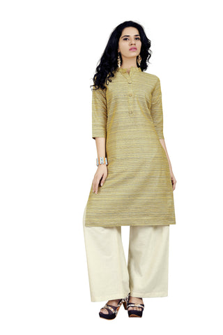Mahendi Color Handloom Cotton Stitched kurti With Palazzo - VT424A