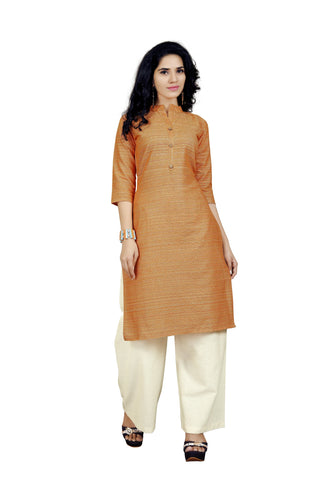 Orange Color Handloom Cotton Stitched kurti With Palazzo- VT425A