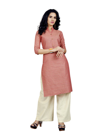 Red Color Handloom Cotton Stitched kurti With Palazzo - VT426A