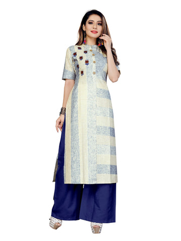 Beige Color Lilen Patta Women's Stitched Kurti - VT429A