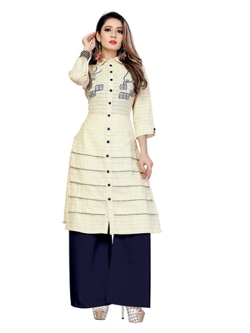 Beige Color Modal Lining Women's Stitched Kurti - VT430A