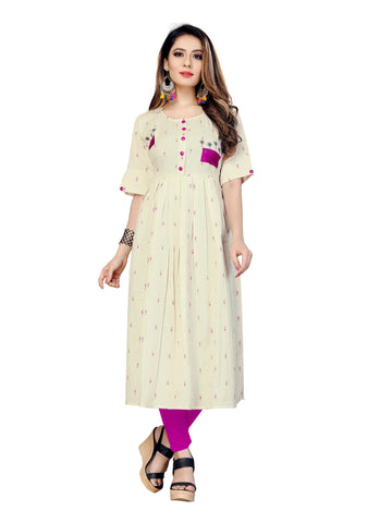 Beige Color Igat Butty Women's Stitched Kurti - VT431A