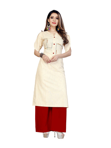 Beige Color Khadi Cotton Women's Stitched Kurti - VT432A