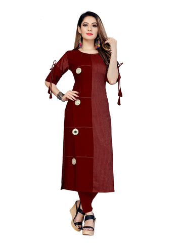 Maroon Color Rayon Lining Women's Stitched Kurti - VT433A