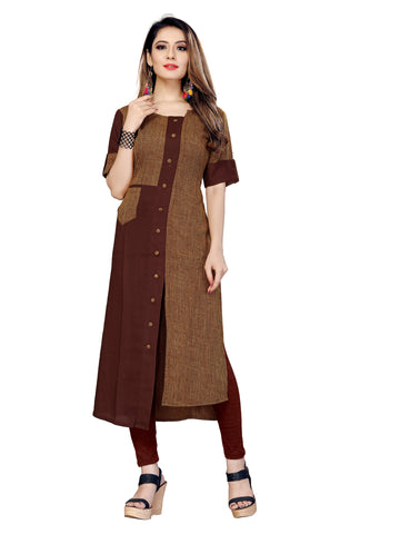 Brown Color Rayon Lining Women's Stitched Kurti - VT434A