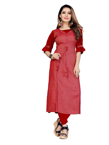 Red Color Rayon Lining Women's Stitched Kurti - VT436A