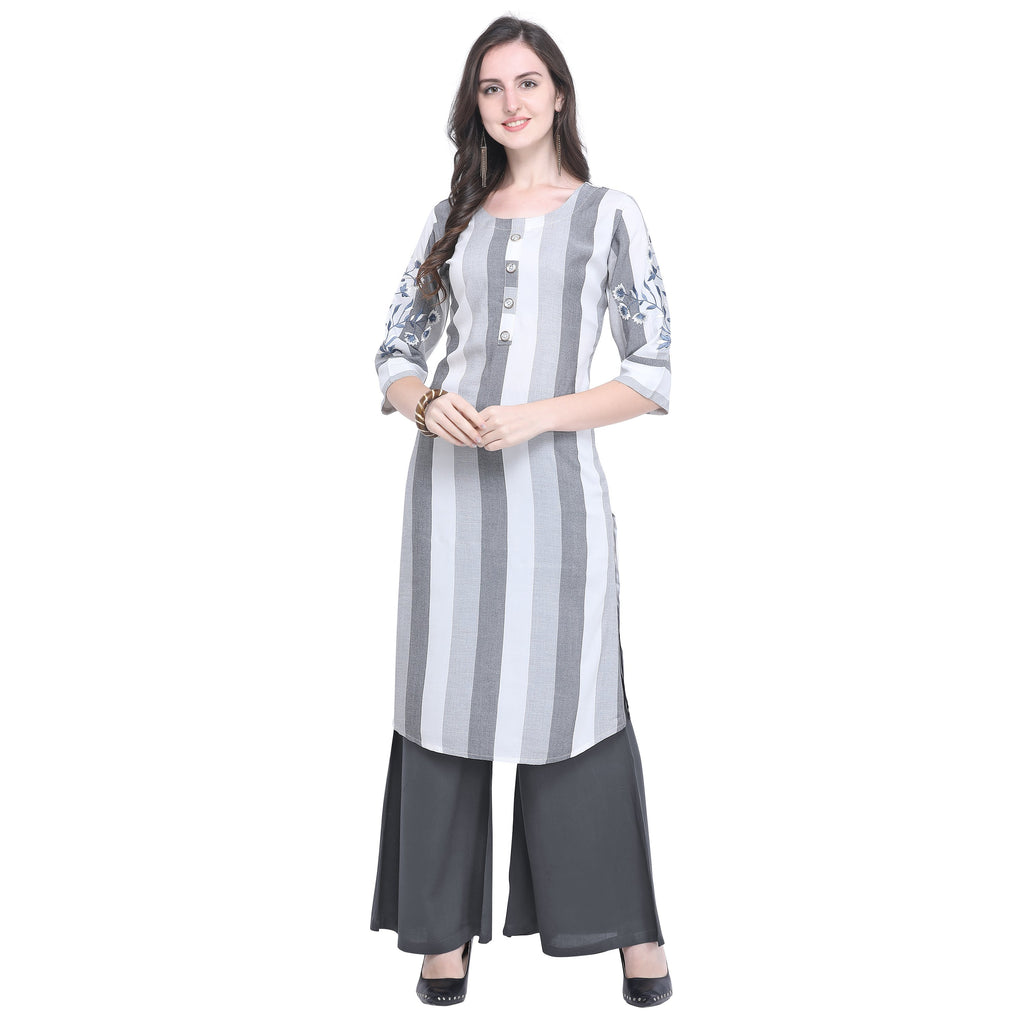 Buy Grey Color Rayon Women's Striped Top