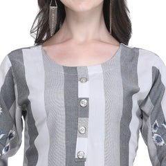 Grey Color Rayon Women's Striped Top - VT437A
