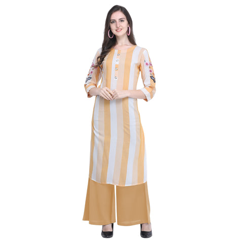 Light Yellow Color Rayon Women's Striped Top - VT438A