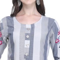 Grey Color Rayon Women's Striped Top - VT439A