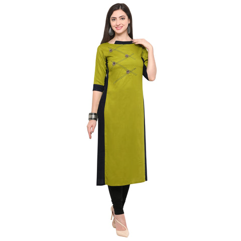 Olive Green Color 14Kg Heavy Rayon Stitched Kurti - VT530A