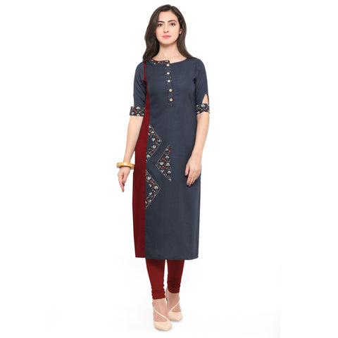 Grey And Red Color 14Kg Heavy Rayon Stitched Kurti - VT540A