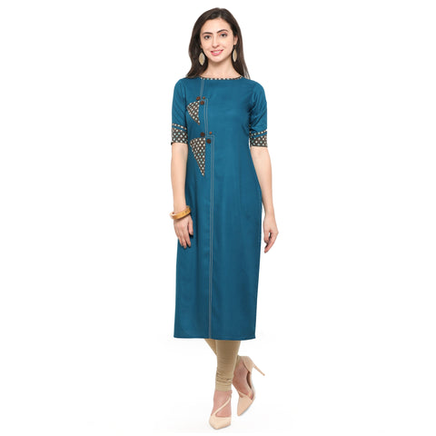 Teal Blue Color 14Kg Heavy Rayon Stitched Kurti - VT550A