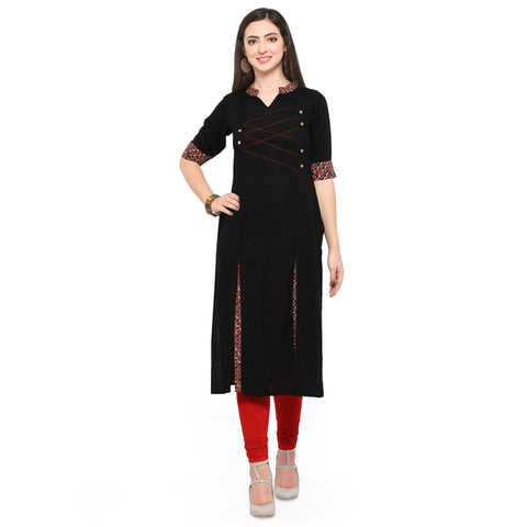 Black Color 14Kg Heavy Rayon Stitched Kurti - VT560A