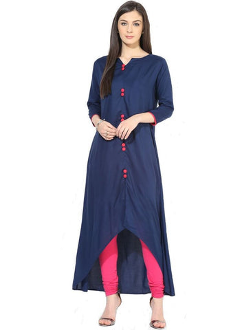 Navy Blue Color Heavy Rayon Stitched Kurti - VT56A