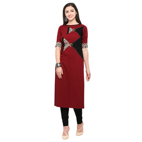 Maroon Color 14Kg Heavy Rayon Stitched Kurti - VT570A