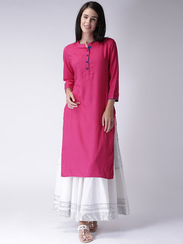 Pink Color Heavy Rayon Stitched Kurti - VT57A