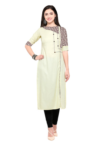 Cream Color 14Kg Heavy Rayon Stitched Kurti - VT580A