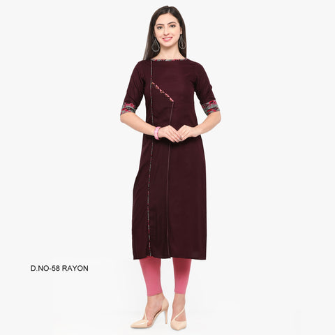 Brown Color 14Kg Heavy Rayon Stitched Kurti - VT590A