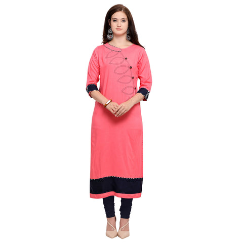 Peach Color 14Kg Heavy Rayon Stitched Kurti - VT600A