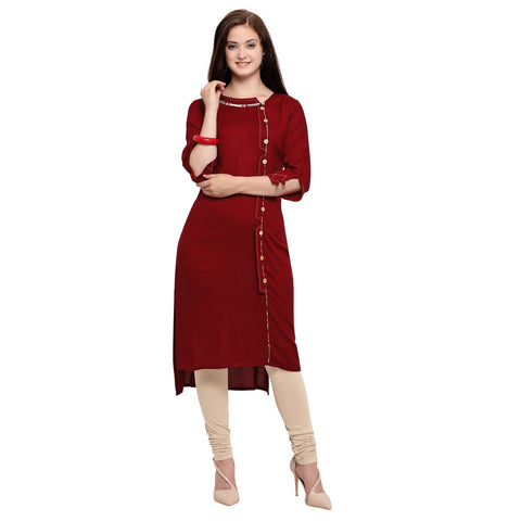 Maroon Color 14Kg Heavy Rayon Stitched Kurti - VT610A