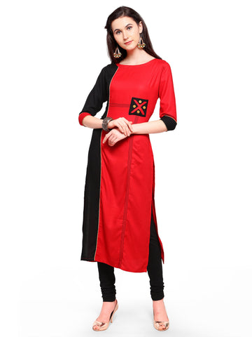 Red And Black Color 14Kg Heavy Rayon Stitched Kurti - VT620A