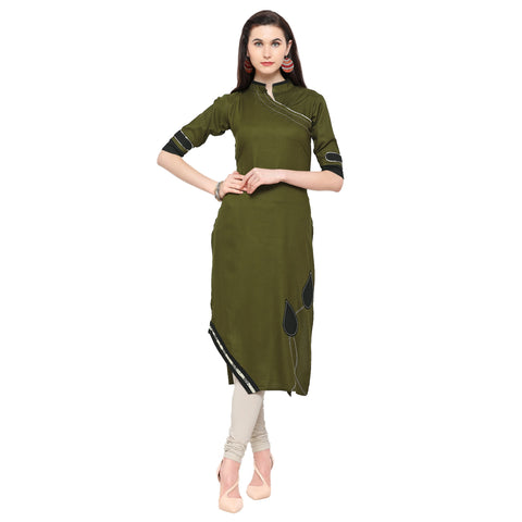 Olive Green Color 14Kg Heavy Rayon Stitched Kurti - VT630A