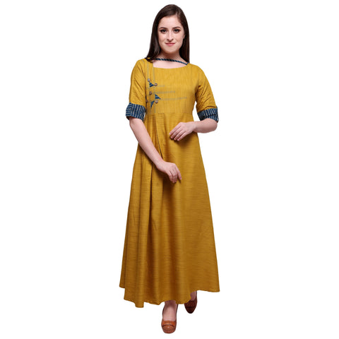 Yellow Color 14Kg Heavy Rayon And Khadi Stitched Kurti - VT660A