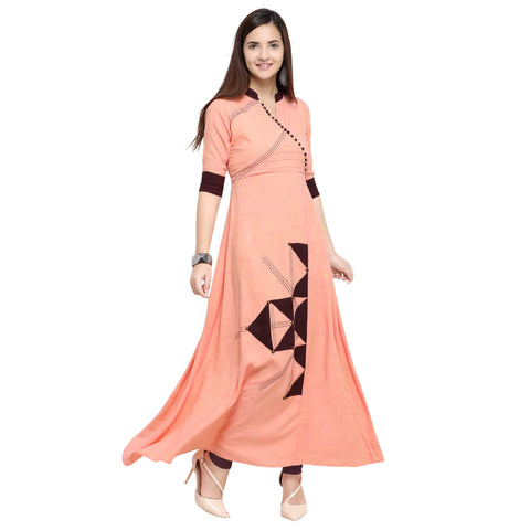 Light Peach Color 14 kg Heavy Two Tone Rayon Stitched Kurti - VT820A