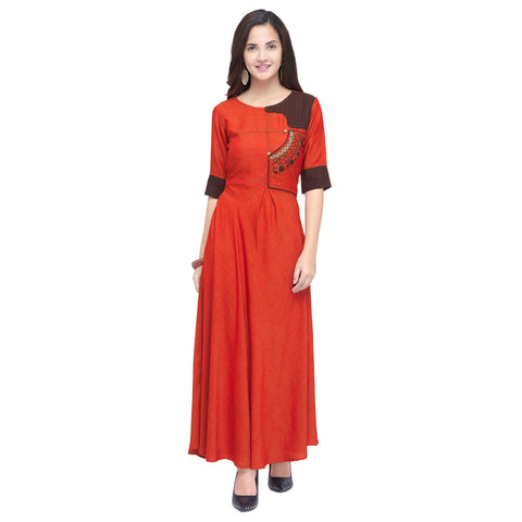 Red Color 14 kg Heavy Two Tone Rayon Stitched Kurti - VT830A