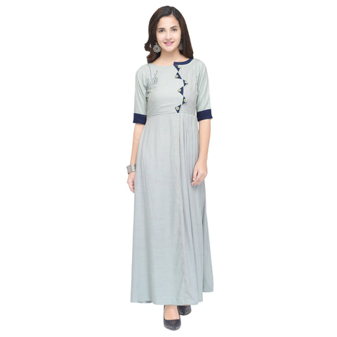 Light Grey Color 14 kg Heavy Two Tone Rayon Stitched Kurti - VT840A