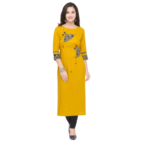 Yellow Color 14Kg Heavy Rayon Stitched Kurti - VT870A