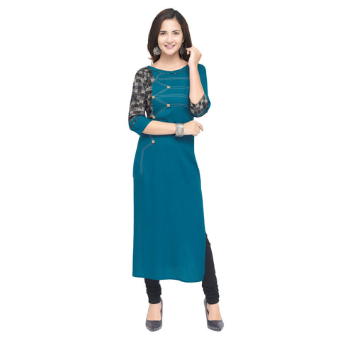 Teal Blue Color 14Kg Heavy Rayon Stitched Kurti - VT880A
