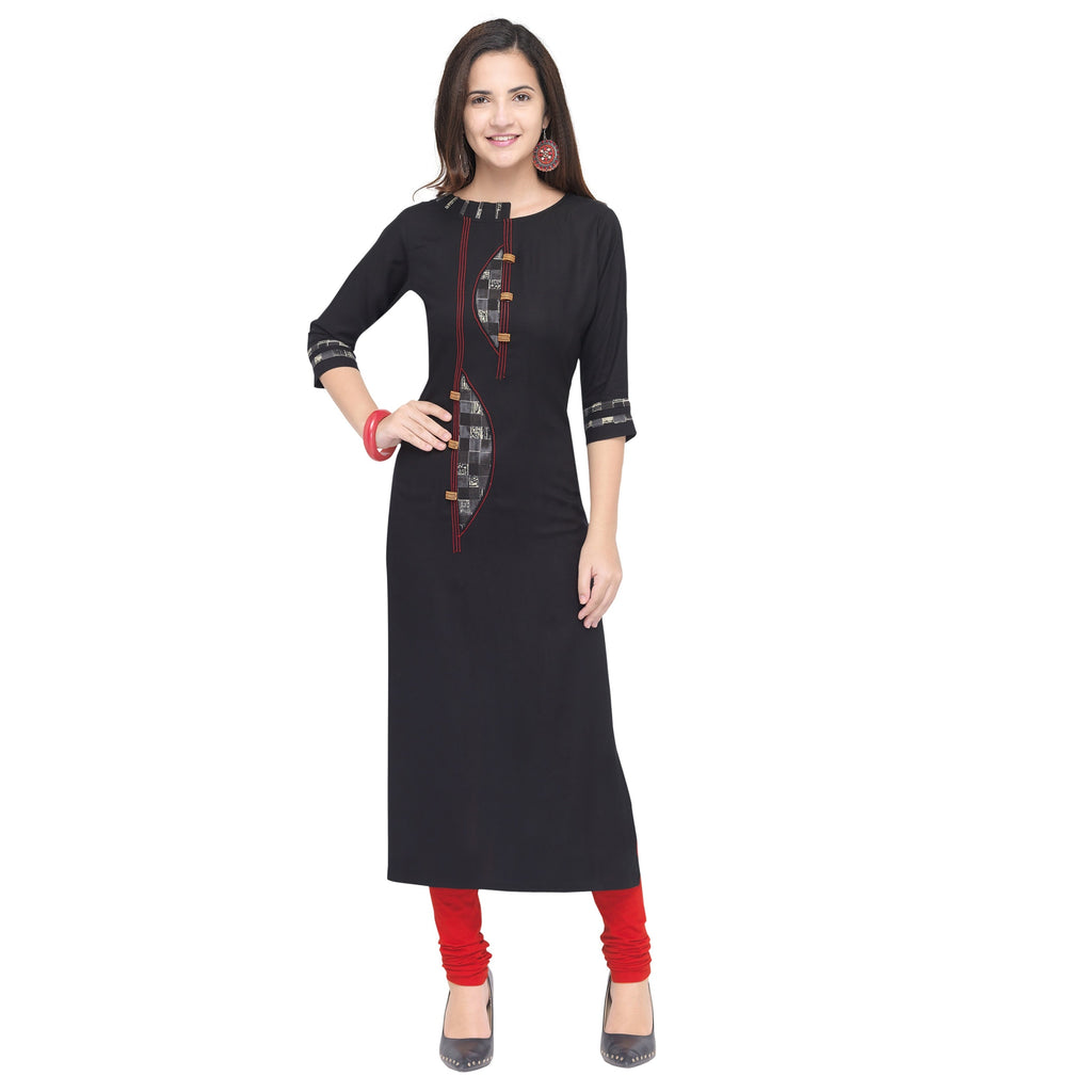 Buy Navy Blue Color 14Kg Heavy Rayon Stitched Kurti