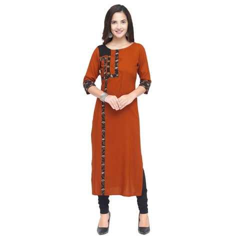 Dark Orange Color 14Kg Heavy Rayon Stitched Kurti - VT910A