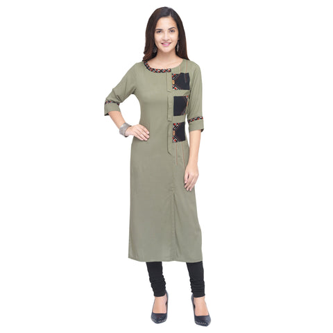 Mud Color 14Kg Heavy Rayon Stitched Kurti - VT920A