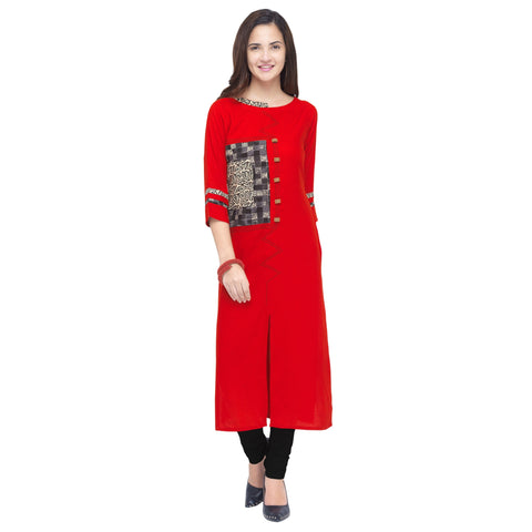 Red Color 14Kg Heavy Rayon Stitched Kurti - VT930A