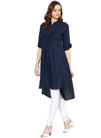 Navy Blue Color Heavy Rayon Stitched Kurti - VT94A