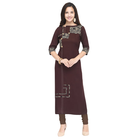 Wine Color 14Kg Heavy Rayon Stitched Kurti - VT950A