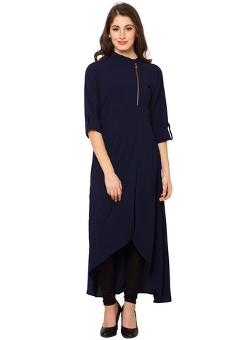 Navy Blue Color Heavy Rayon Stitched Kurti - VT96A
